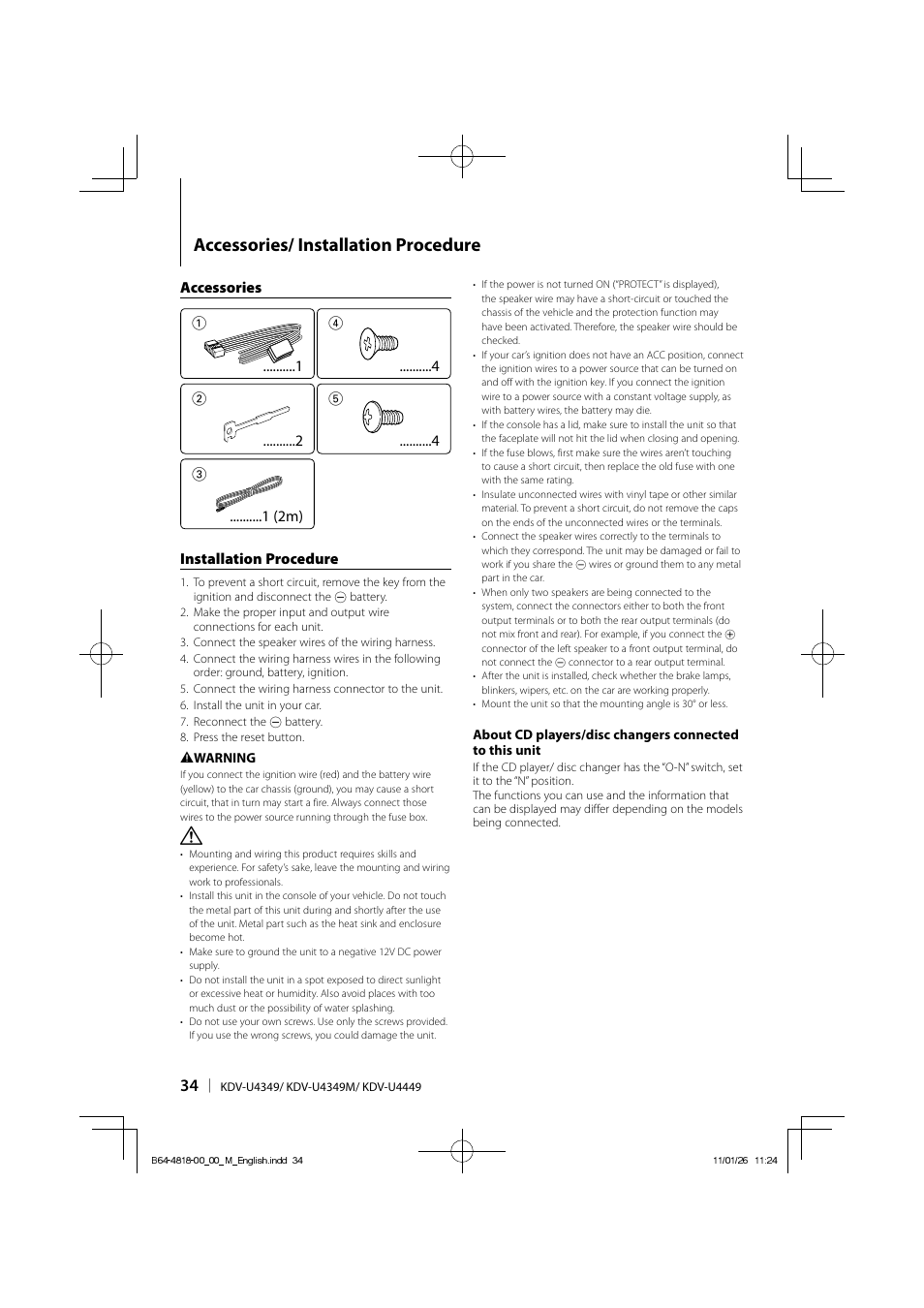 Accessories Installation Procedure Kenwood Kdv U4349 User Manual Cd Player Wiring Harness Page 34 40