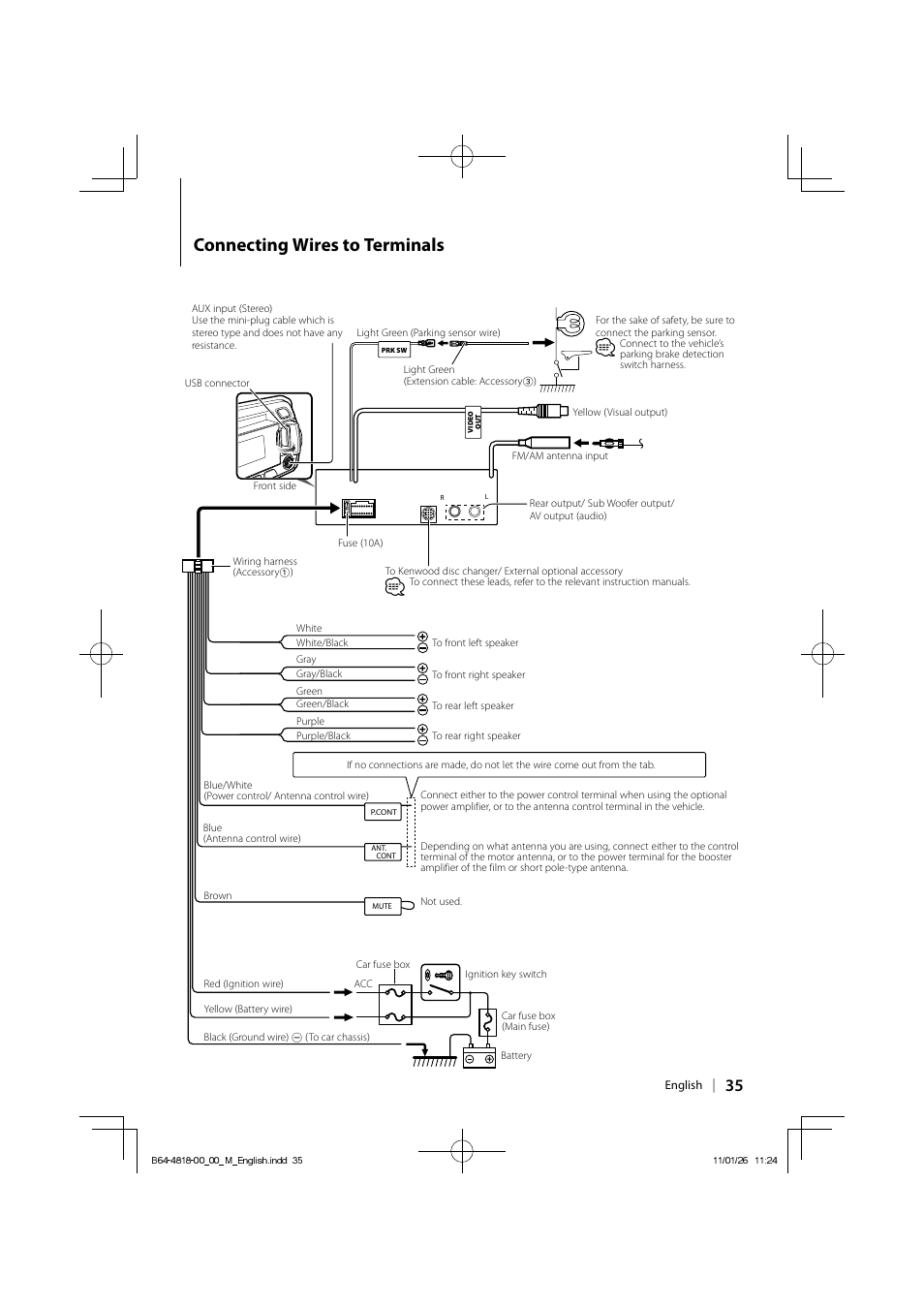 Connecting wires to terminals | Kenwood KDV-U4349 User ... on jvc wiring diagram, nissan maxima audio wiring diagram, clarion wiring diagram, alpine wiring diagram, reading wiring diagram, samsung wiring diagram, jackson wiring diagram, apple wiring diagram, concord wiring diagram, lincoln wiring diagram, hayward wiring diagram, ge wiring diagram, rca wiring diagram, fisher wiring diagram, sony wiring diagram, jl audio wiring diagram, panasonic wiring diagram, pioneer wiring diagram, jensen wiring diagram, columbia wiring diagram,