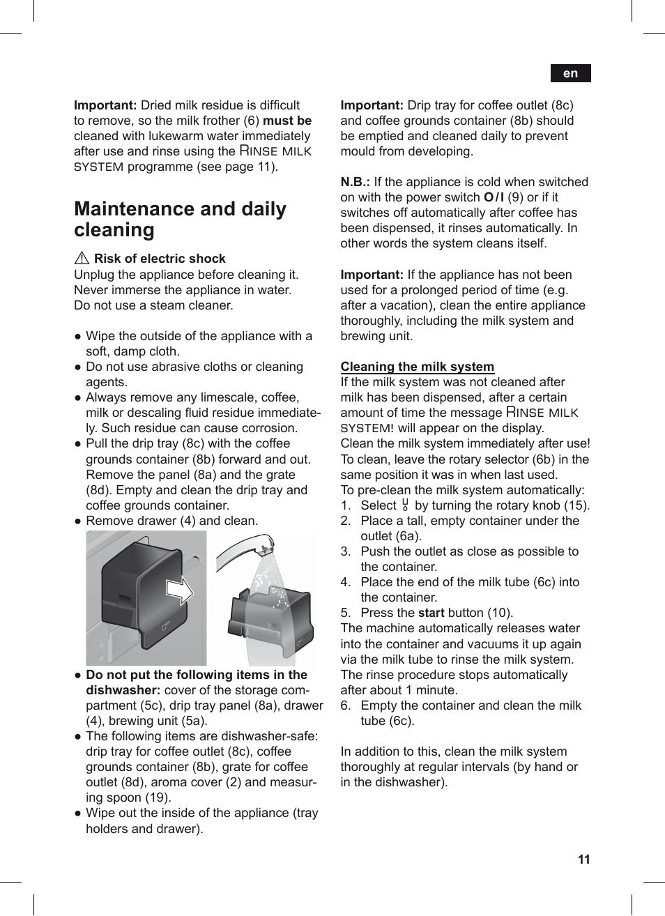 maintenance and daily cleaning rinse milk system siemens rh manualsdir com Dishwasher Siemens ManualDownload siemens instruction manual dishwasher