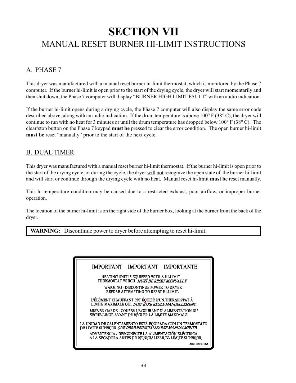 A. phase 7 b. dual timer, Manual reset burner hi-limit instructions   ADC  AD-170SE User Manual   Page 48 / 58