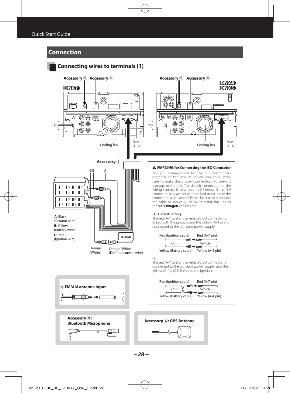 Connection Connecting Wires To Terminals 1 Quick Start Guide John Deere 5210 Wiring Diagram Kenwood Dnx5210bt User Manual Page 28 36