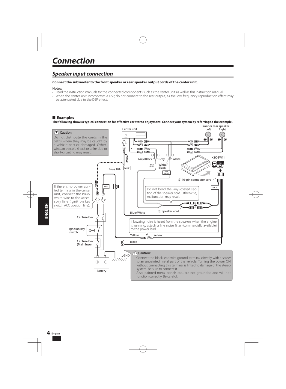 Connection Speaker Input P Kenwood Ksc Sw11 User Function Of Car Fuse Box Manual Page 4 9