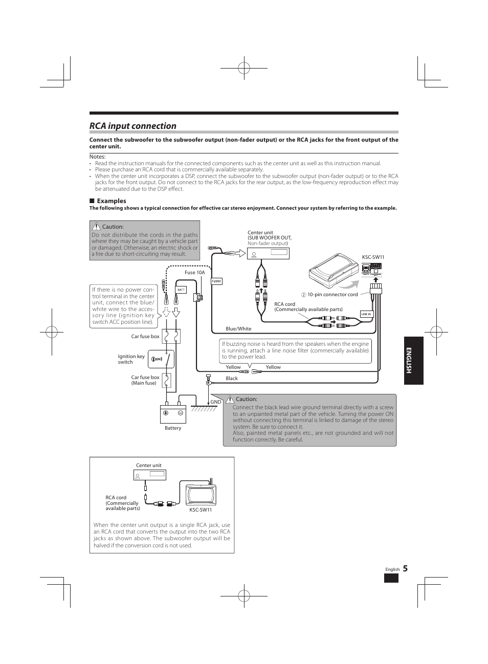 Rca Input Connection P Kenwood Ksc Sw11 User Manual Page 5 9 Fire Fuse Box