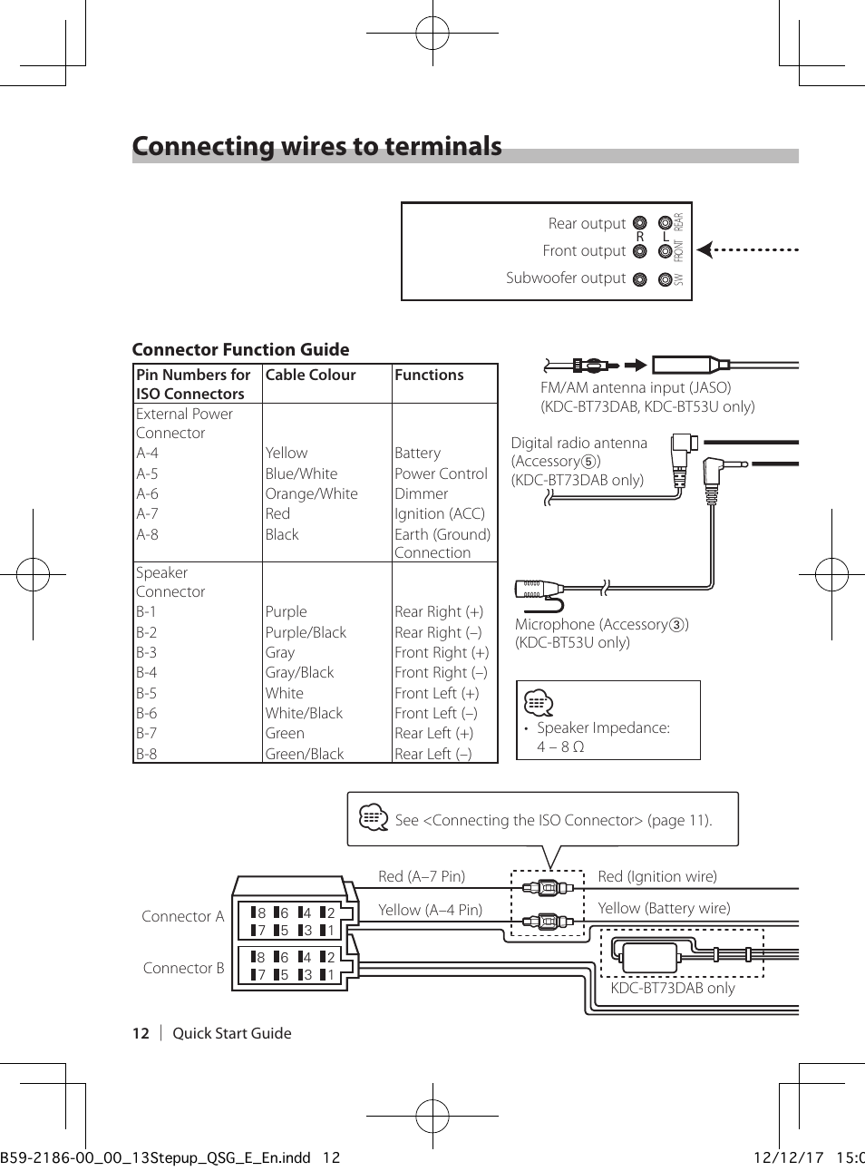 Wiring Diagram For Kenwood Kdc 252u : Connecting wires to terminals kenwood kdc bt u user