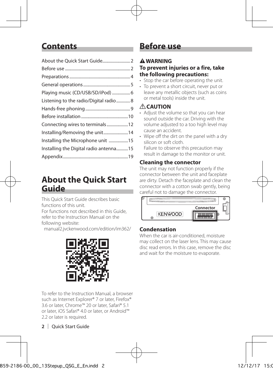 Contents before use, About the quick start guide | Kenwood KDC-BT53U User  Manual | Page 2 / 20