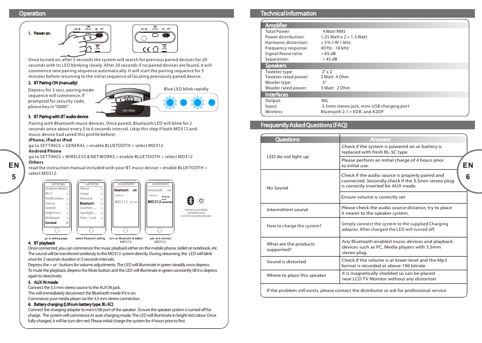 En 6, En 5 | Microlab MD 312 User Manual | Page 4 / 17