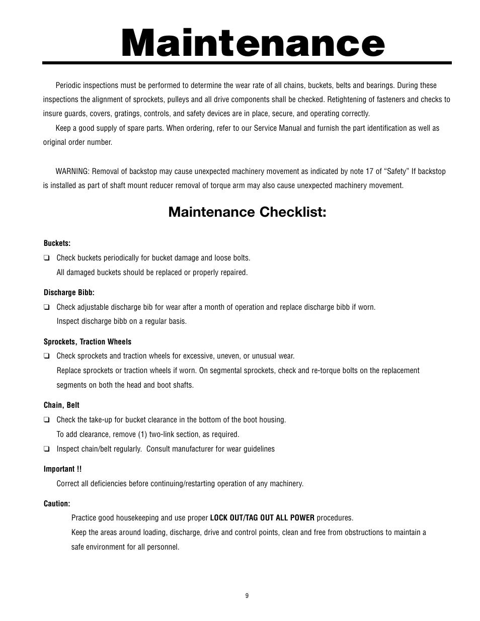 maintenance maintenance checklist martin sprocket gear bucket rh manualsdir com elevator maintenance manual zack mccain book elevator maintenance manual zack mccain