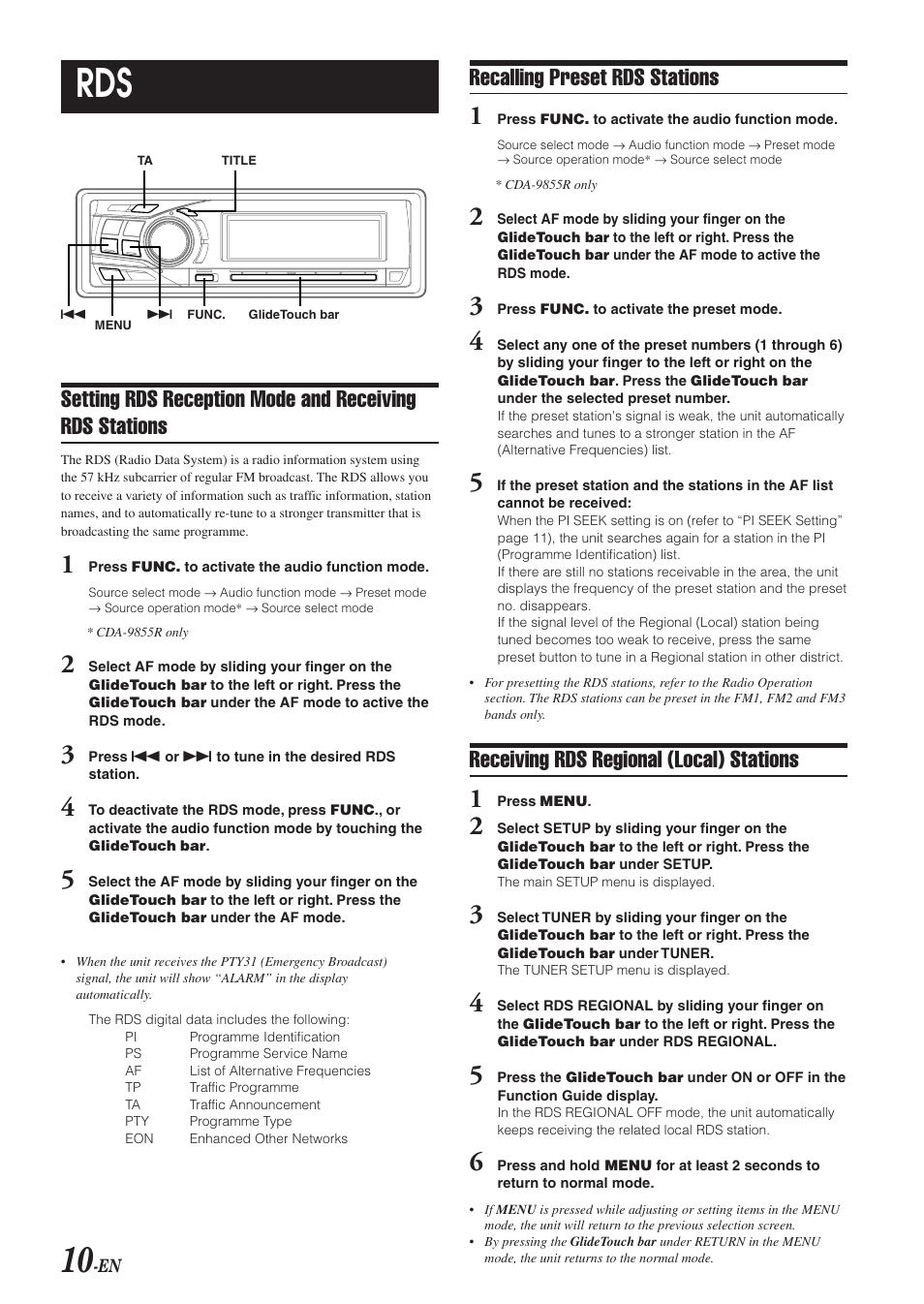 Alpine car stereo system cda-9853r user guide | manualsonline.