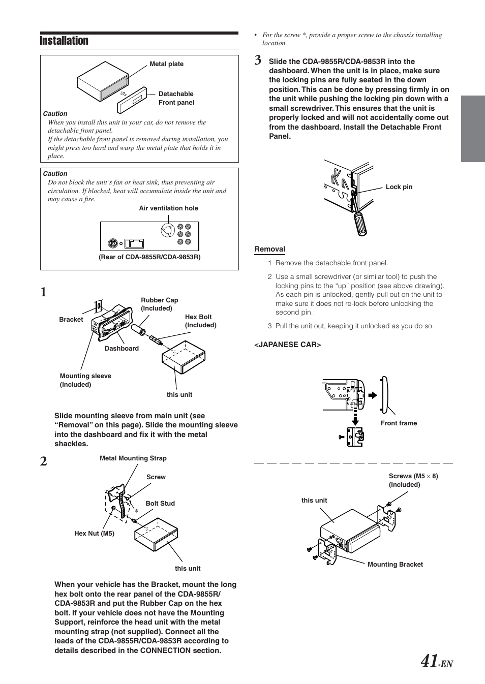 installation alpine cda 9855r user manual page 42 49 rh manualsdir com Alpine CDA 9805 Alpine Cda- 7865