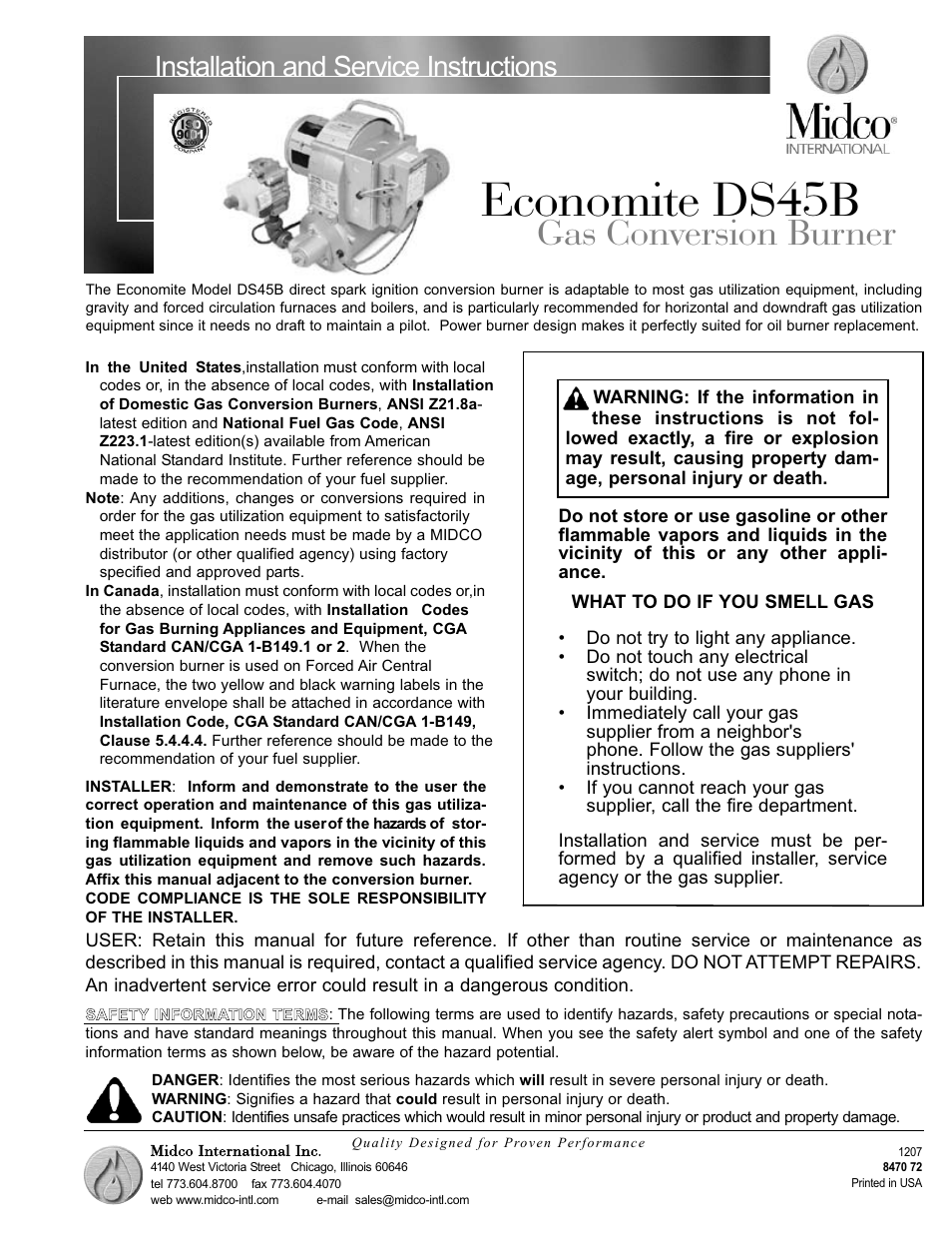 Midco Ds45b User Manual 12 Pages