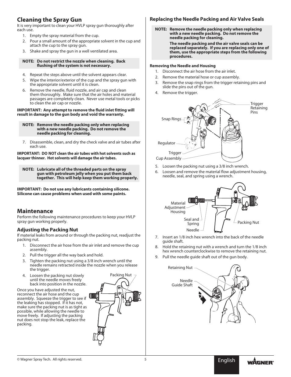 Cleaning The Spray Gun Maintenance English Wagner Hvlp Conversion Gun User Manual Page 5 28 Original Mode