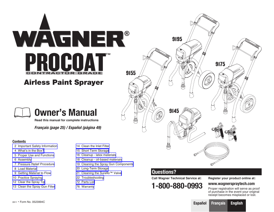 wagner procoat 9195 user manual 28 pages also for