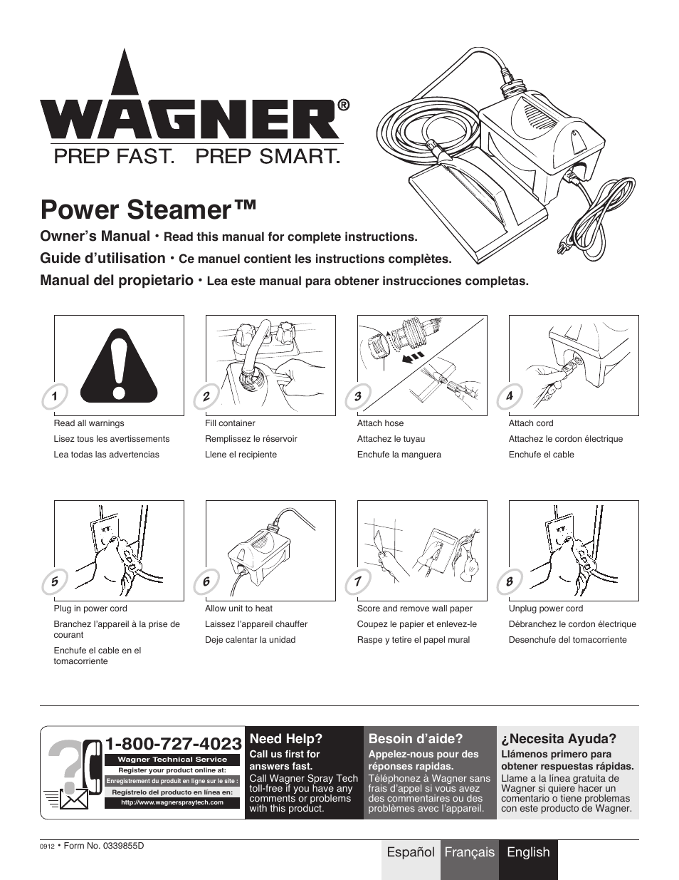 Wagner 705 Steamer User Manual 8 Pages Original Mode