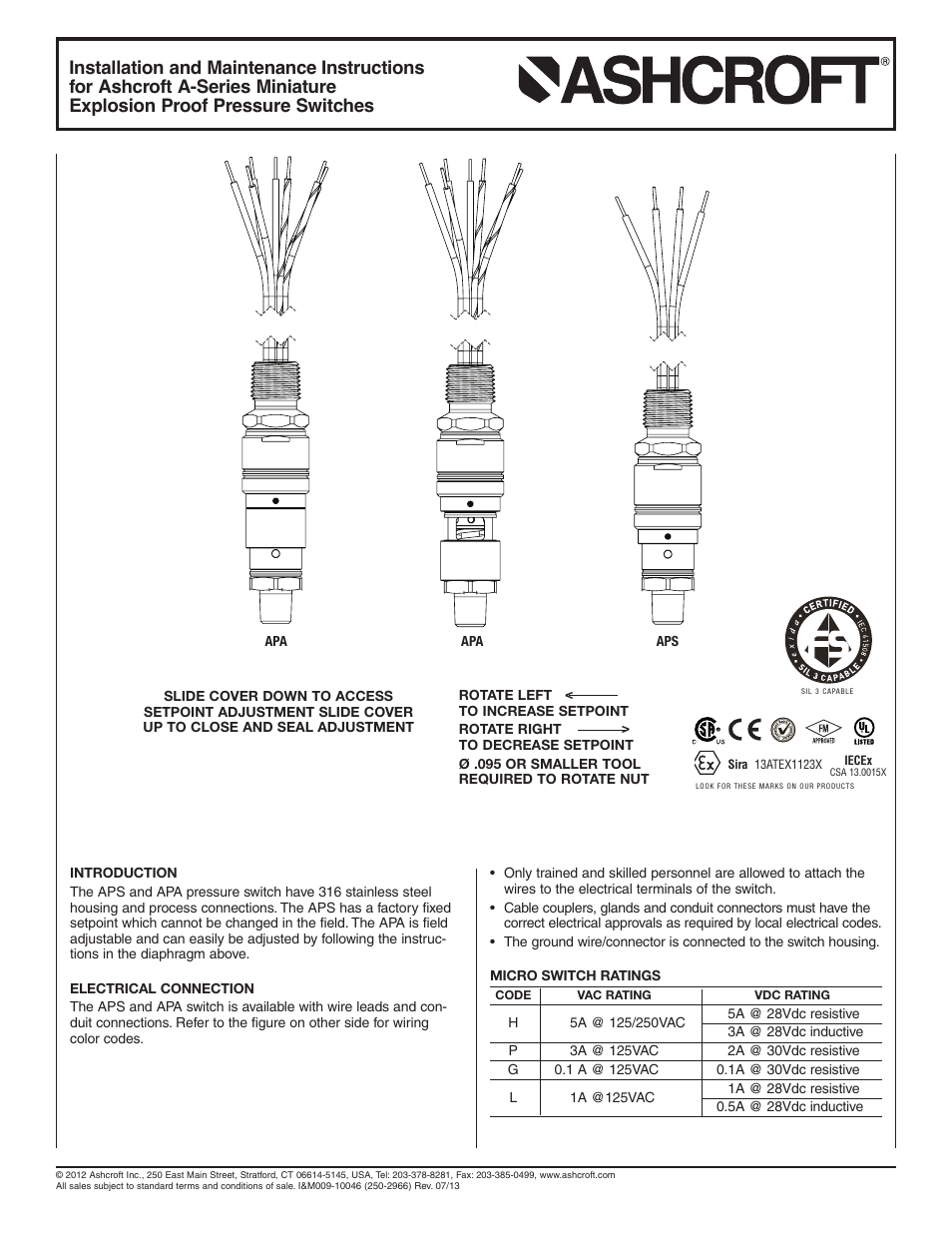 Ashcroft a series miniature explosion proof switch user manual 2 ashcroft a series miniature explosion proof switch user manual 2 pages asfbconference2016 Images