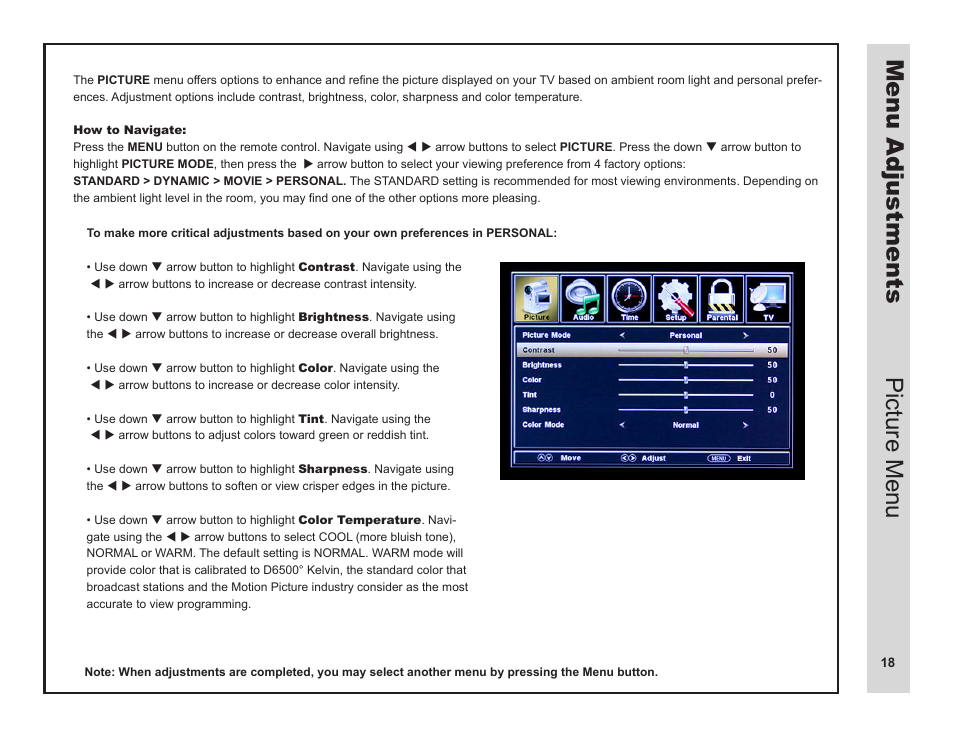 menu adjustments picture menu apex digital ld3249 user manual rh manualsdir com Operators Manual Operators Manual