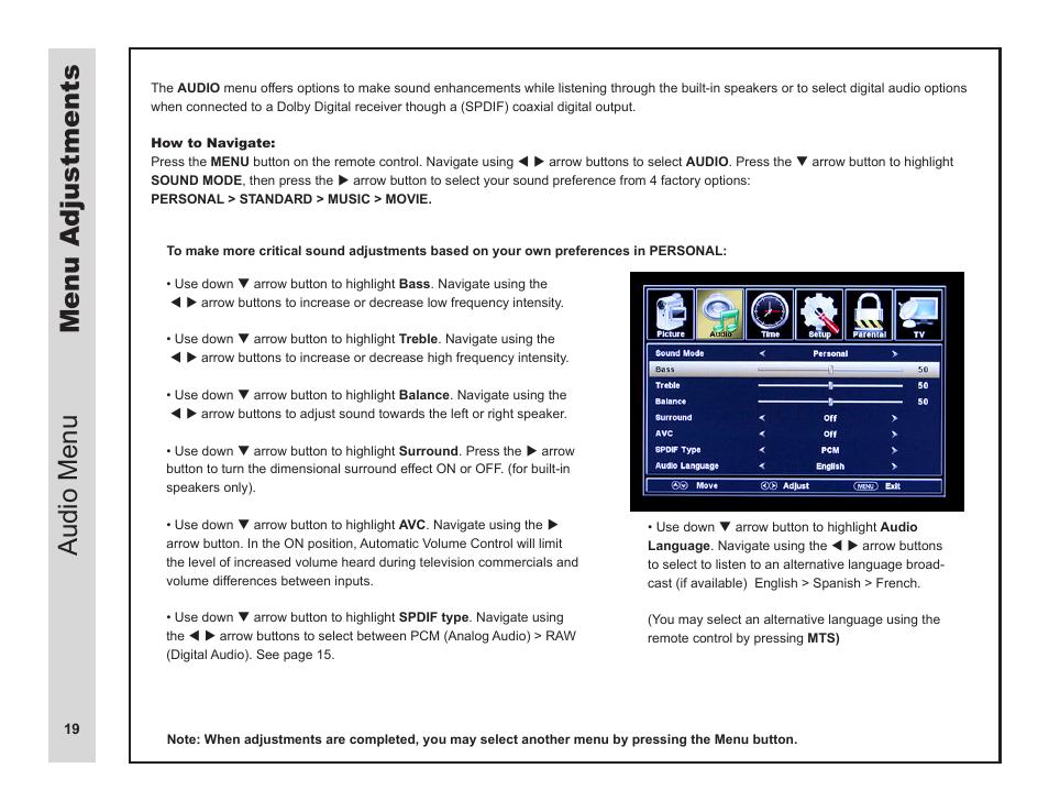 menu adjustments audio menu apex digital ld3249 user manual page rh manualsdir com Apex Digital Antenna Apex Digital VHS