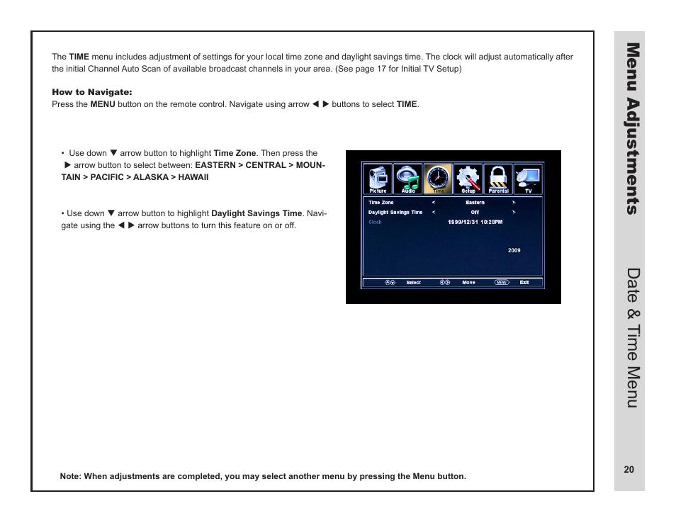 menu adjustments date time menu apex digital ld3249 user manual rh manualsdir com Owner's Manual User Manual PDF