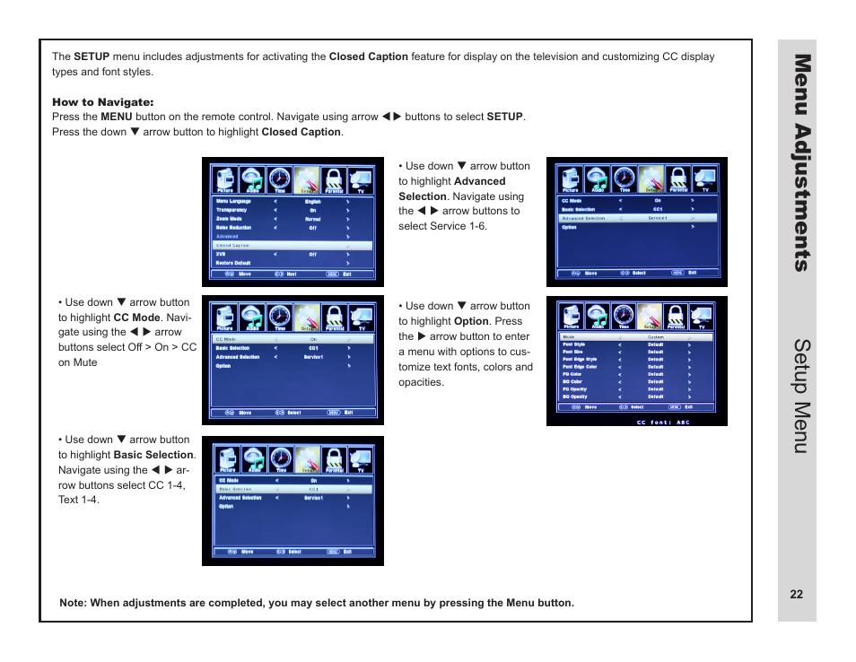 menu adjustments setup menu apex digital ld3249 user manual rh manualsdir com Instruction Manual Book Owner's Manual