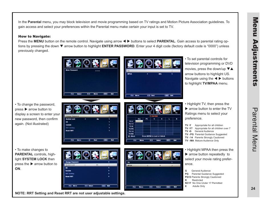 menu adjustments parental menu apex digital ld3249 user manual rh manualsdir com User Manual PDF Operators Manual