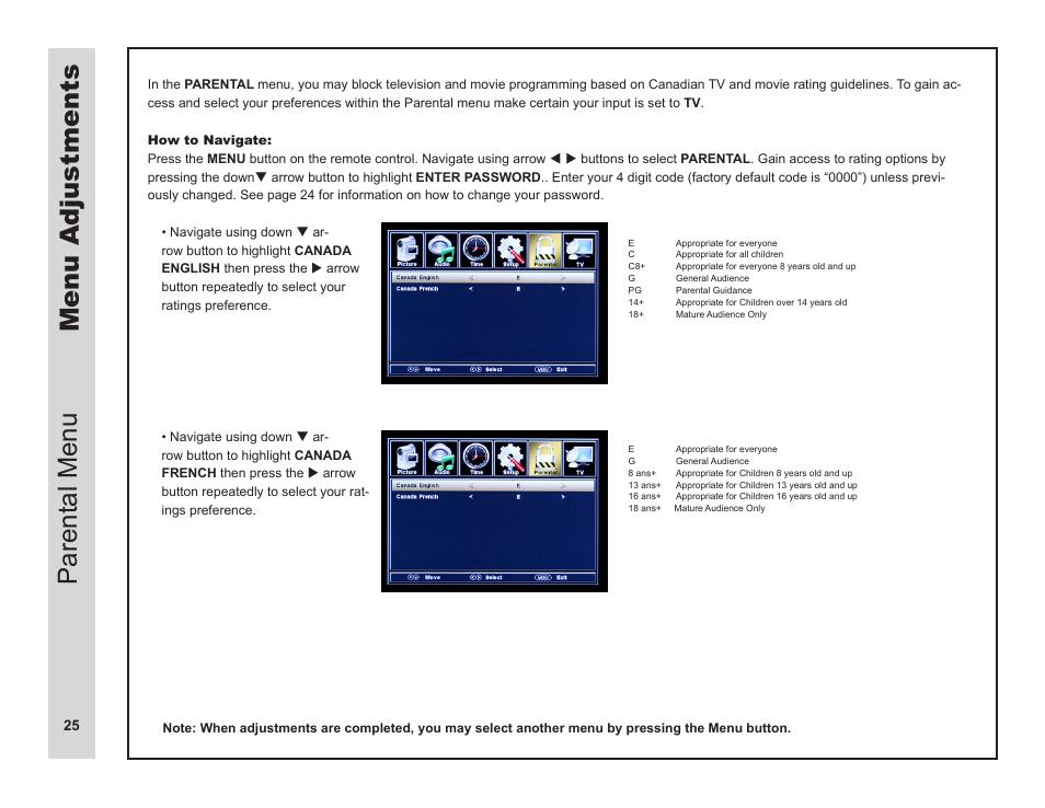 menu adjustments parental menu apex digital ld3249 user manual rh manualsdir com User Manual Template User Guide