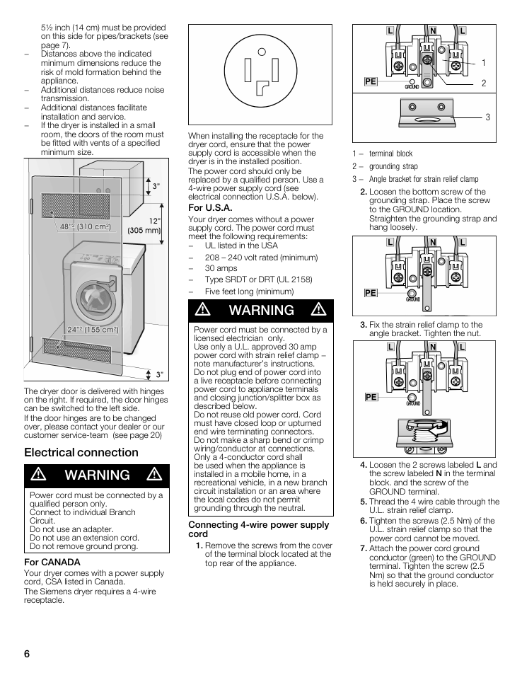 Warning, Electrical connection | Siemens 27 Electric Dryer User ...