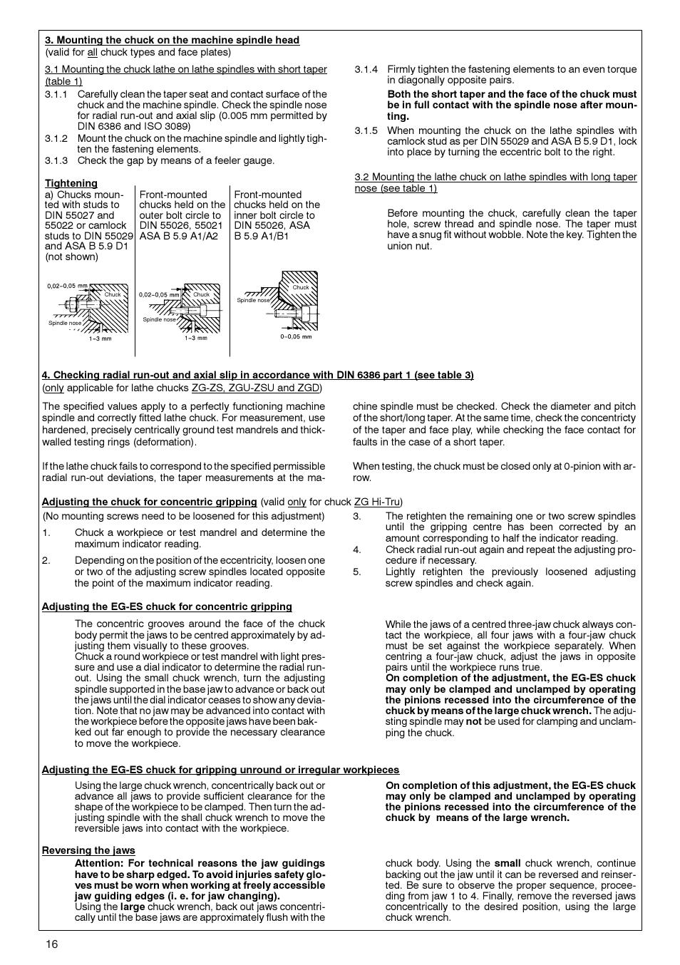 ROHM ZG/ZS, ZGU/ZSU, EG/ES - Geared scroll chucks User Manual | Page