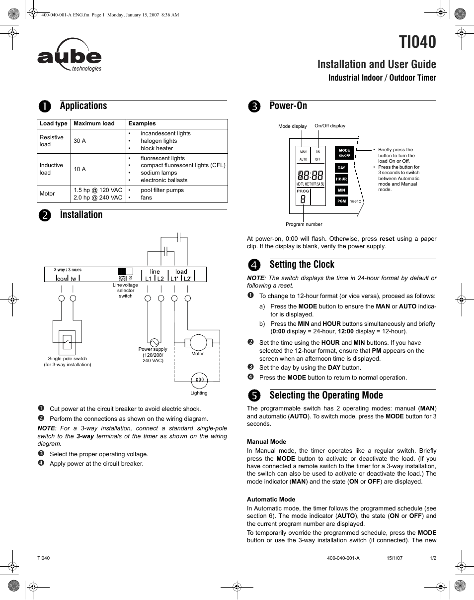 Aube Technologies Ti040 User Manual