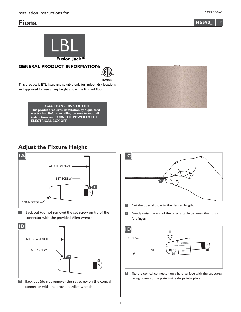 lbl lighting fiona p user manual 4 pages