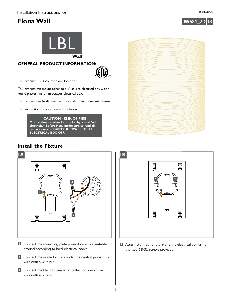 lbl lighting fiona w user manual 2 pages