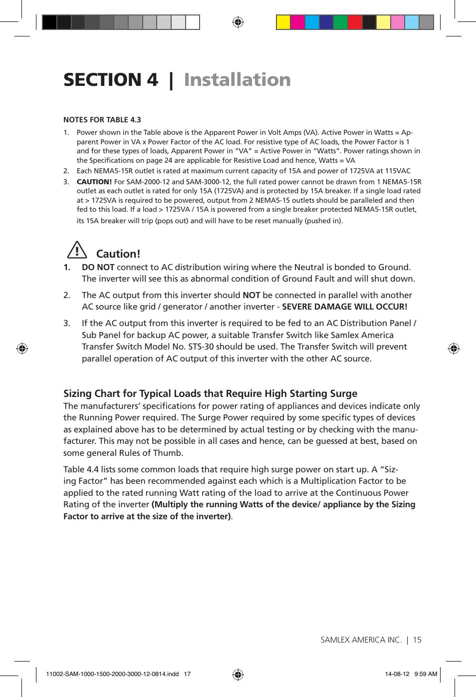 Caution   Samlex America SAM-3000-12 User Manual   Page 17 / 32