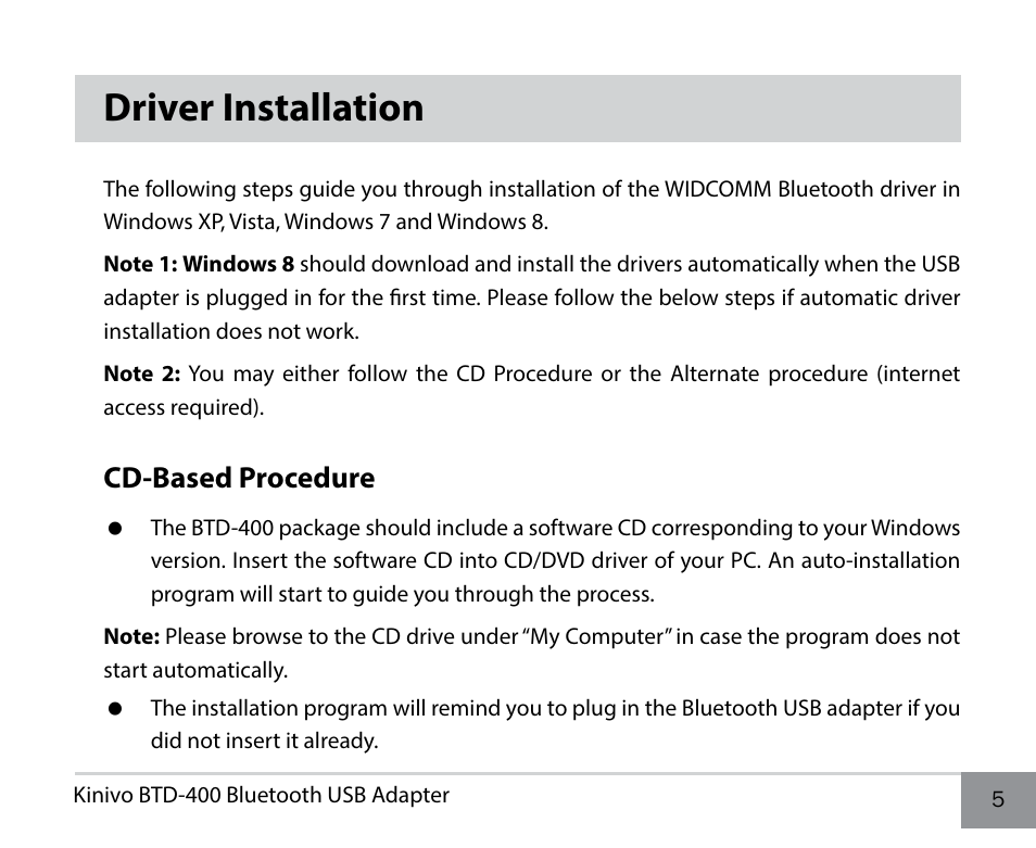 Driver installation, Cd-based procedure | Kinivo BTD-400