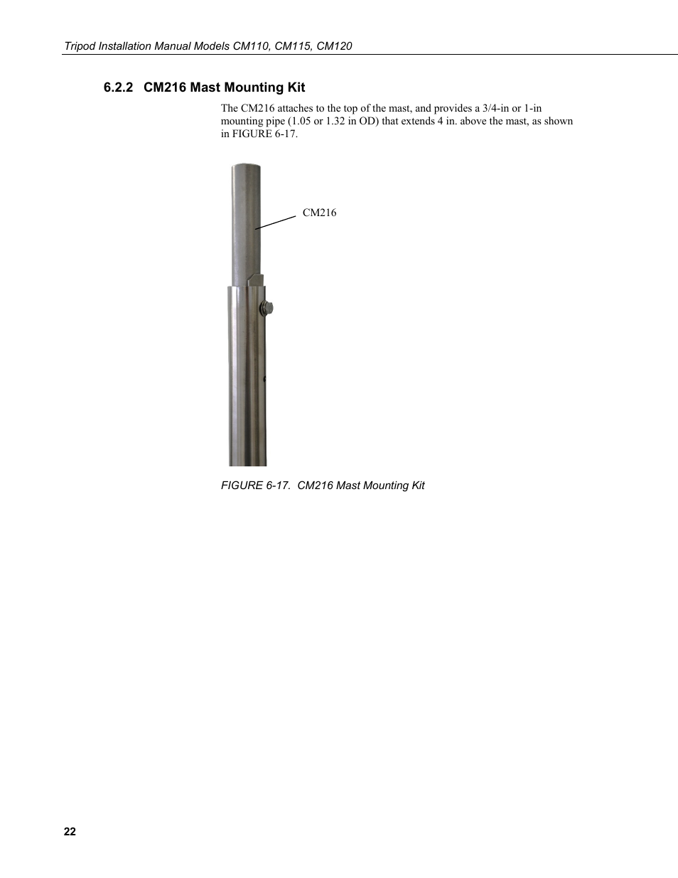 2 cm216 mast mounting kit, Cm216 mast mounting kit, 17. cm216 mast mounting kit | Campbell Scientific CM110, CM115, CM120 Tripod Installation User Manual | Page 30 / 40