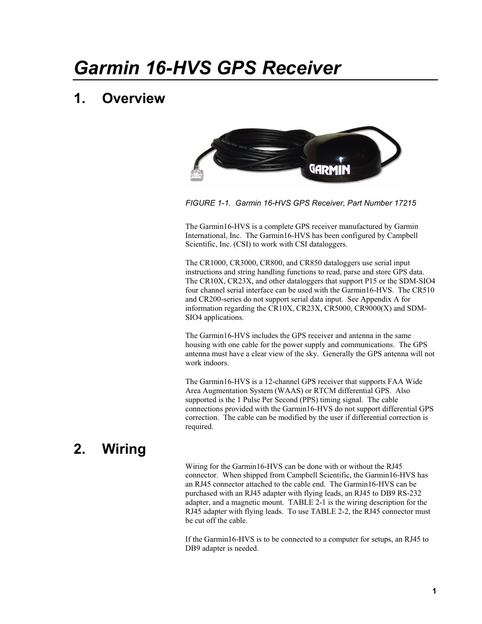 Overview, Wiring, 1  garmin 16-hvs gps receiver, part number 17215