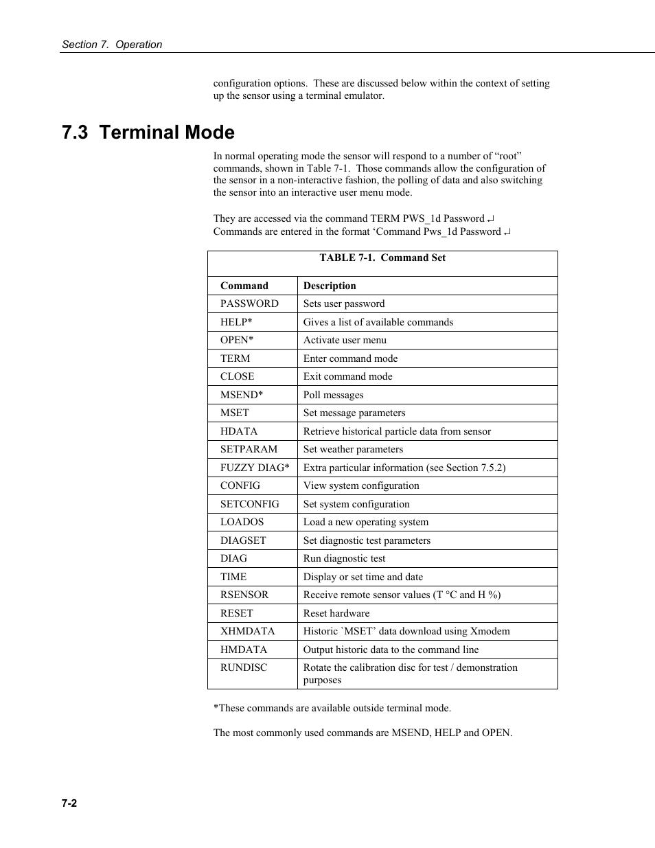 3 terminal mode   Campbell Scientific PWS100 Present Weather Sensor