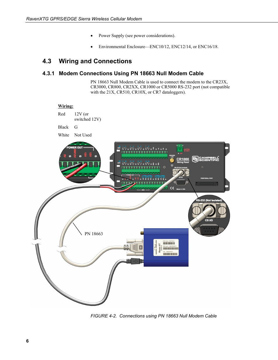3 wiring and connections, Wiring and connections, Modem connections using  pn 18663 null modem cable | Campbell Scientific RavenXTG Sierra Wireless  Cellular ...
