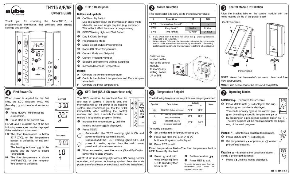 aube technologies th115 a f af user manual 3 pages rh manualsdir com Aube TH115 Af Aube Programmable Thermostat