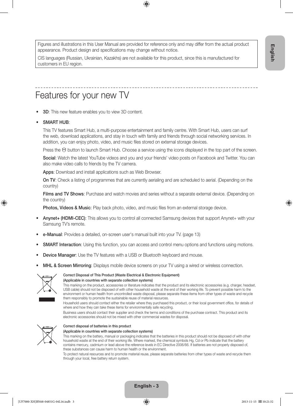 Features For Your New Tv Samsung Ue40f7000st User Manual Page 3