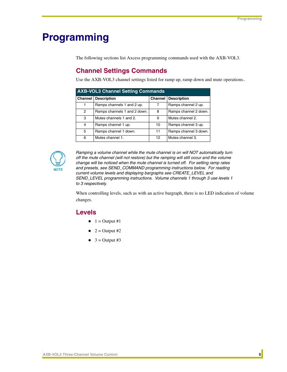 Programming, Channel settings commands, Levels   AMX AXB-VOL3 User