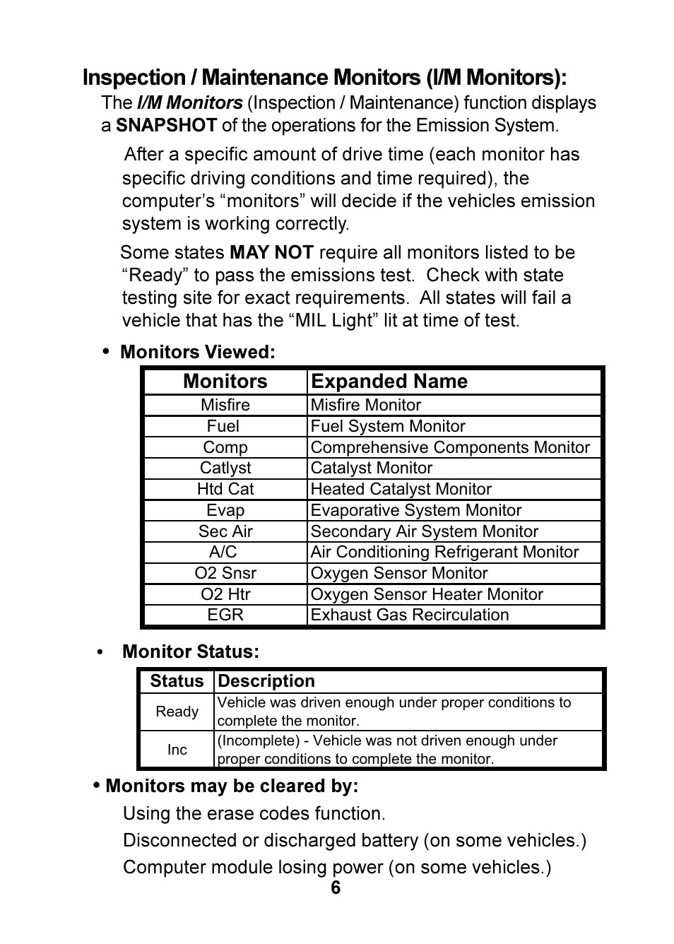 Inspection / maintenance monitors (i/m monitors) | Actron
