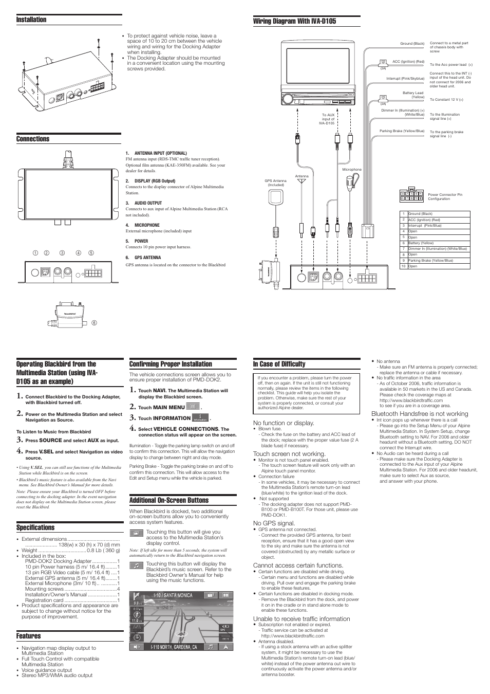 [SCHEMATICS_48ZD]  Connections, Wiring diagram with iva-d105, Specifications | Alpine  Blackbird Docking Adapter PMD-DOK2 User Manual | Page 2 / 2 | Original mode | Alpine Navigation Wiring Diagram |  | Manuals Directory