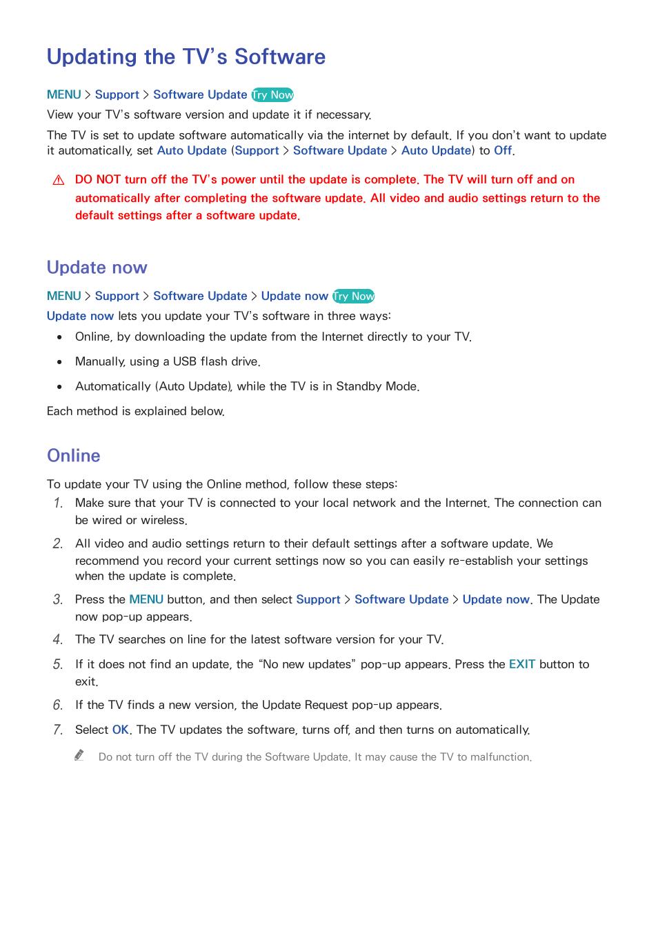 Updating the tv's software, 172 update now, 172 online