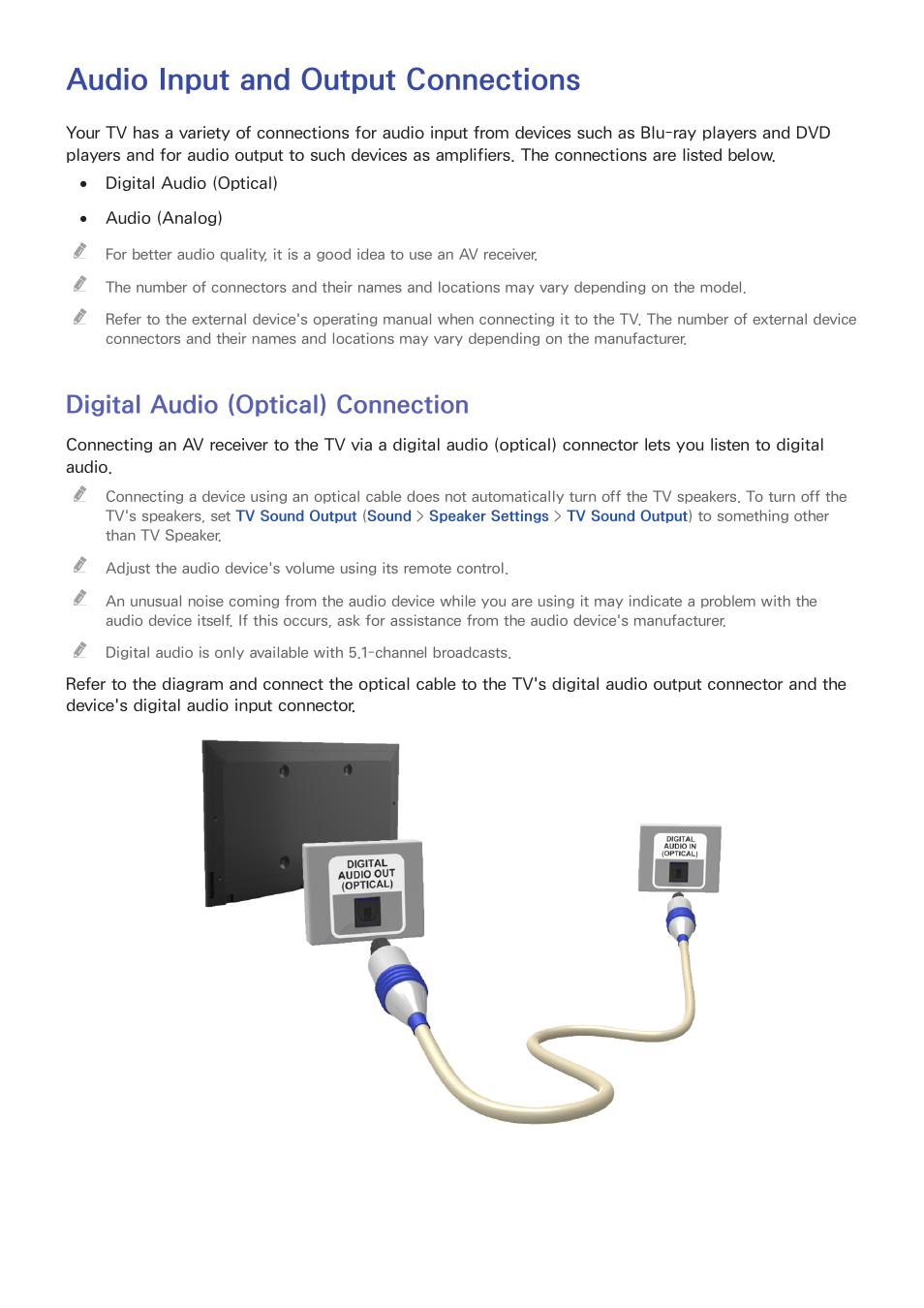 Audio input and output connections, Digital audio (optical