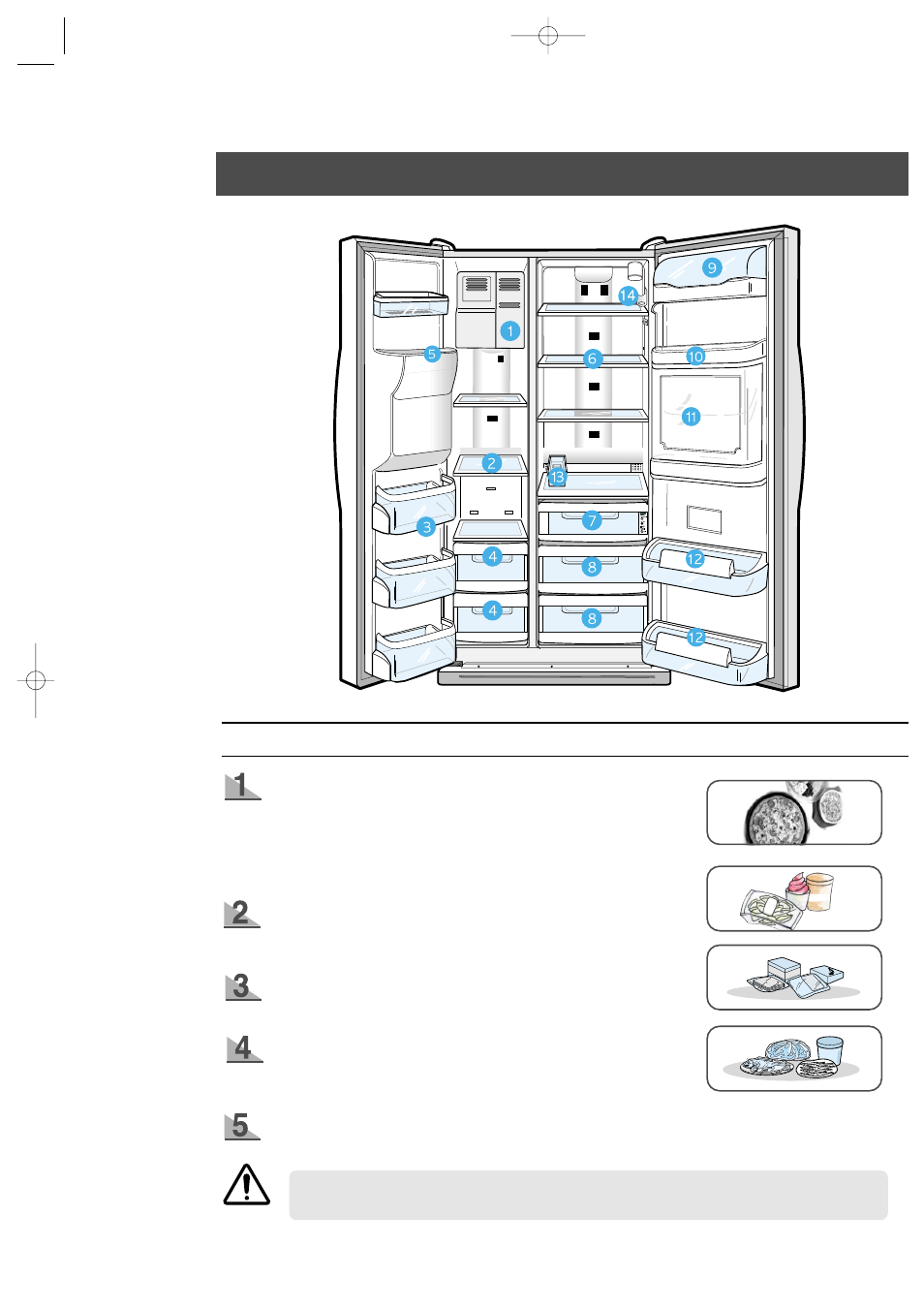 food storage guide, frozen food storage in freezer   samsung rs2555sl-xaa  user manual   page 9 / 32