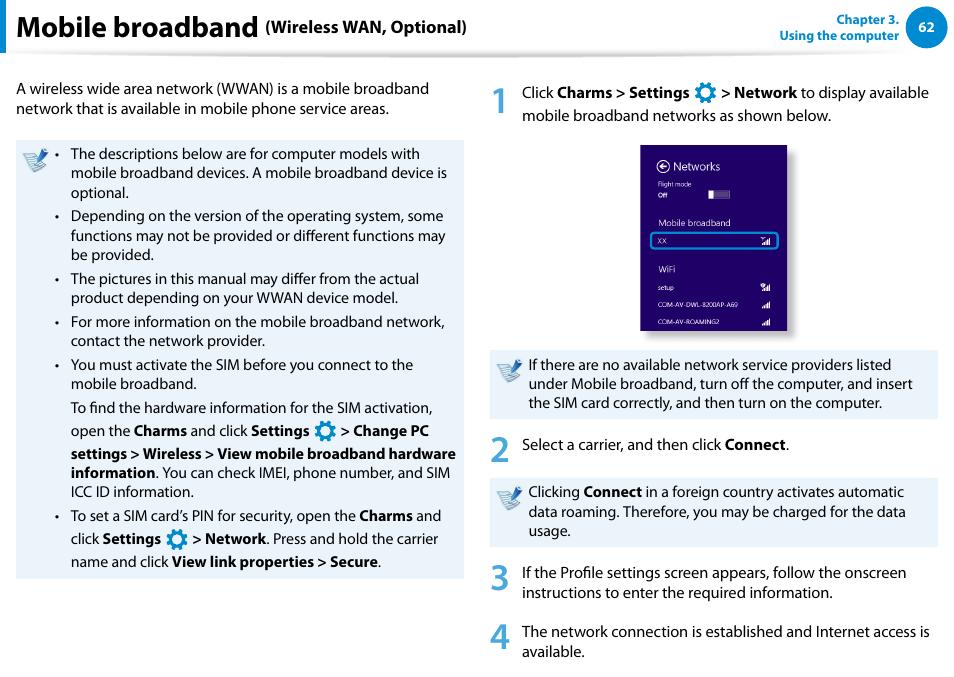 Mobile broadband (wireless wan, optional), Mobile broadband