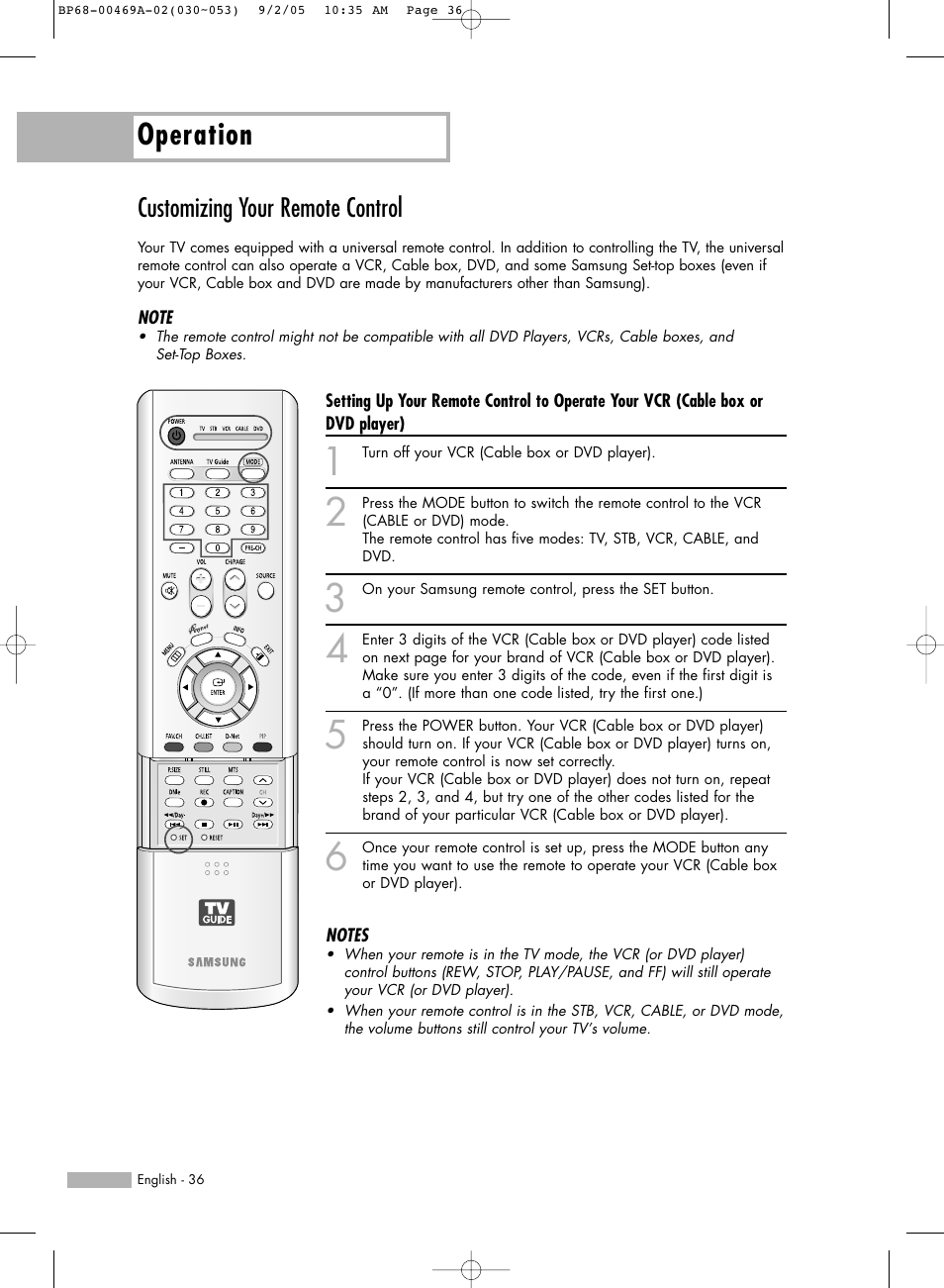 Customizing your remote control, Operation | Samsung