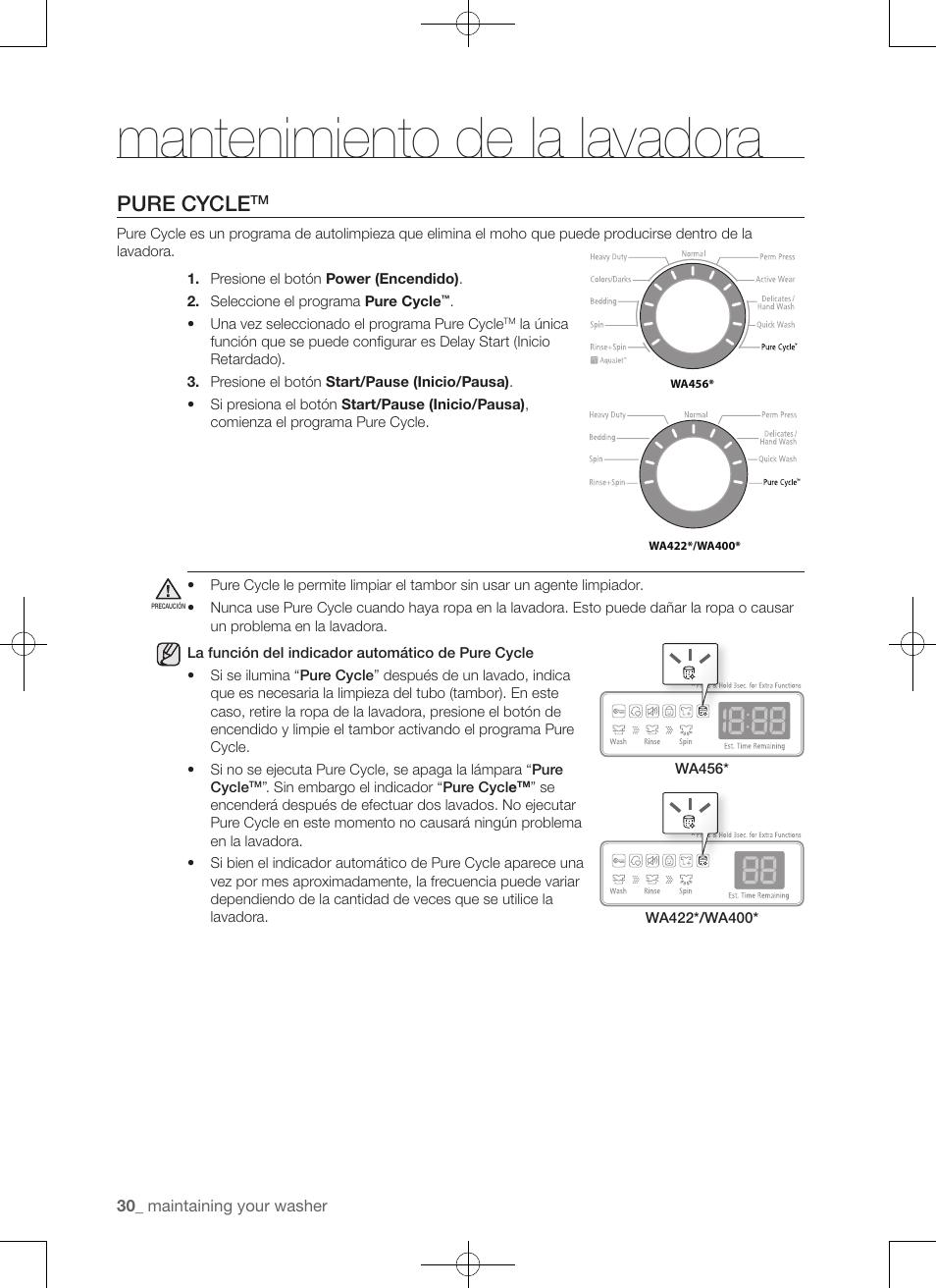 Mantenimiento De La Lavadora Pure Cycle Samsung Wa456drhdsu Aa User Manual Page