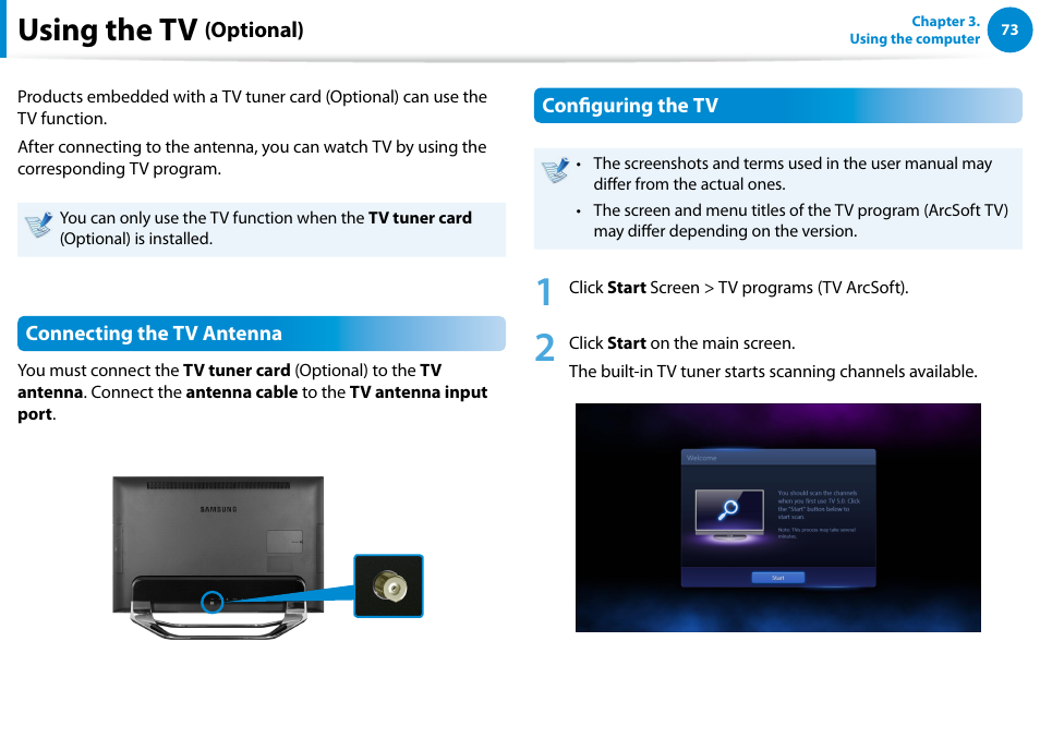 Using the tv (optional), Using the tv   Samsung DP700A7D