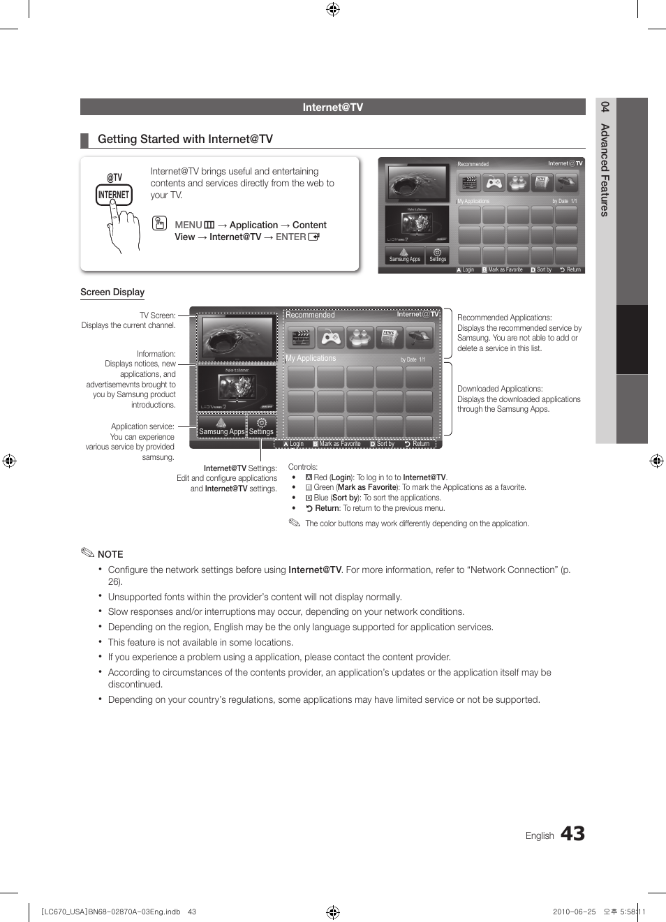 Internet@tv | Samsung LN46C670M1FXZA User Manual | Page 43 / 60