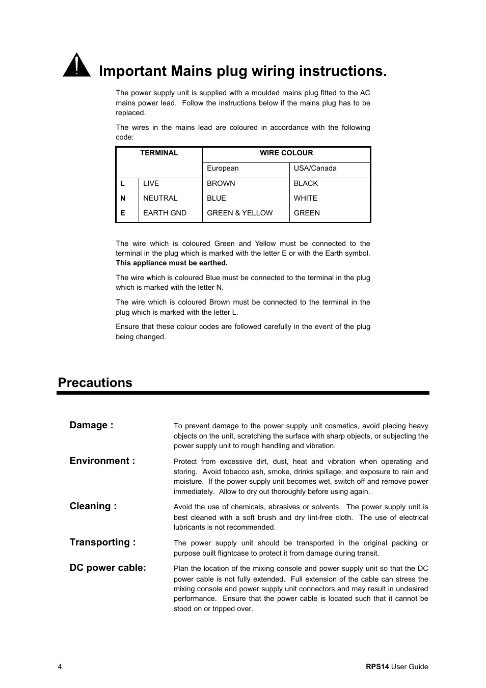 Important Mains Plug Wiring Instructions Precautions Damage A British Allen Heath Rps14 User Manual Page 4 8