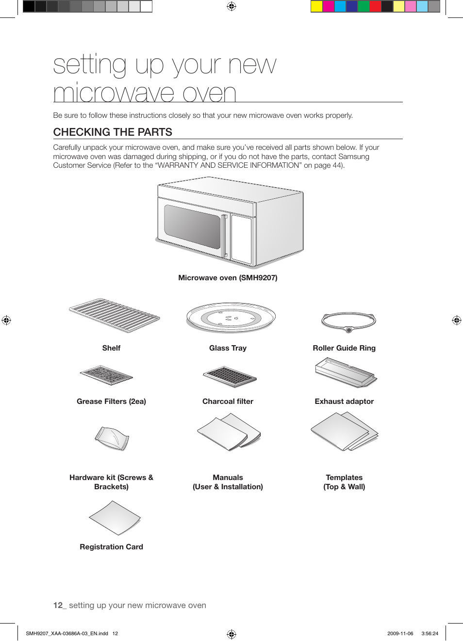 Setting up your new microwave oven | Samsung SMH9207ST-XAA User Manual |  Page 12 / 48